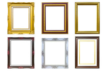 golden wood photo image frame isolated on white background