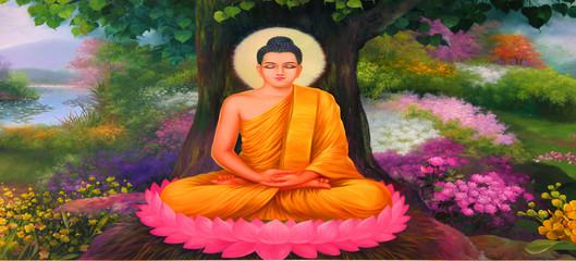 Buddhist Mural At Khao Noi Pagoda, Buriram
