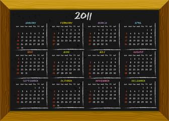 2011 calendar chalkboard style