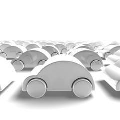 3D render - white car traffic