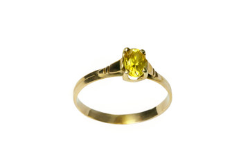 Gold ring with a yellow topaz