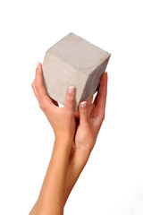 hands and cube