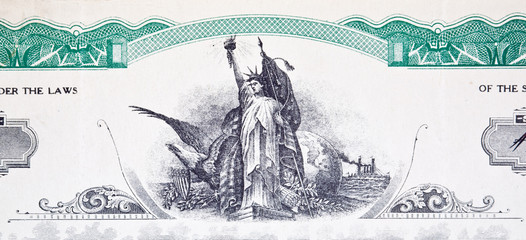 XXXL Engraving Statue of Liberty Stock Certificate Vignette