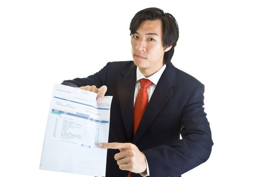 Asian Man Pointing Past Due Medical Bill Isolated Backgroud