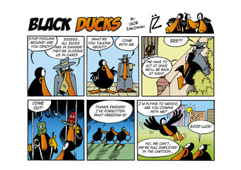 Foto op Aluminium Comics Black Ducks Comic Strip episode 60