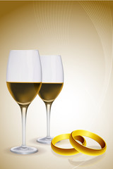 wine glass with gold