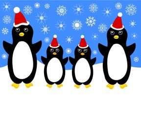 Christmas penguin family