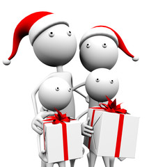 3d family comes to Christmas gifts, on a white background.