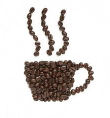 coffee beans make coffee cup shape