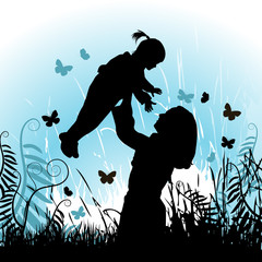 Happy family, vector illustration, mother and child