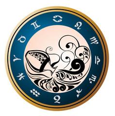 Zodiac Wheel with sign of Aquarius