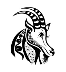 Zodiac signs Capricorn. Tattoo design