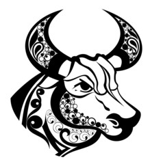 Zodiac signs - Taurus.Tattoo design.