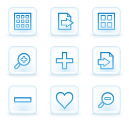 Image viewer web icons set 1, white square buttons