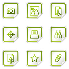 Image library web icons, green stickers series