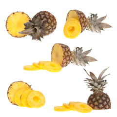 Whole and half pinapple