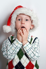 boy with santa-hat, smiling