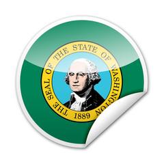 Pegatina bandera Washington con reborde