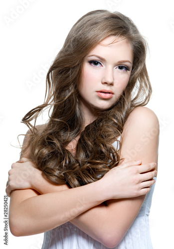 """Beautiful Teen Girl With Long Curly Hairs"" Stock Photo"