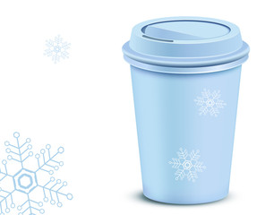 Christmas plastic coffee cup with lid