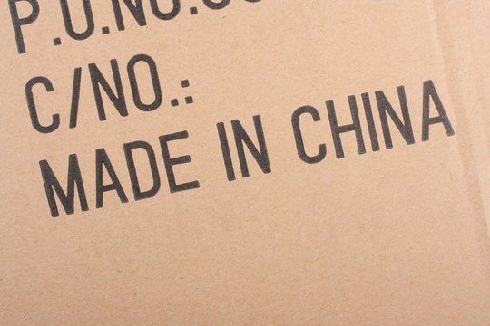 Made in China stamped on a cardboard box