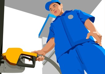 Stock vector of a person was filling up a  fuel tank