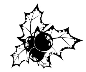 Black and white stylized Christmas traditional symbol