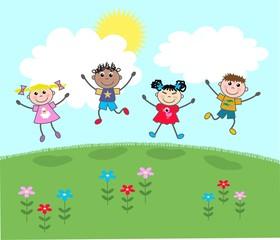 happy jumping mixed kids