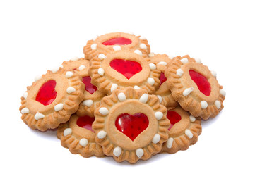 valentine cookies with red heart in the centre