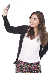 woman taking pictures with her cellphone