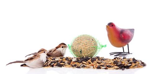 birdseeds with decorative birds isolated over white