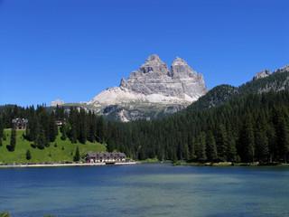 Italy beauty, Dolomites Misurina lake under Tre Cime mount