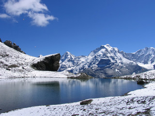 Swiss beauty, Jungfrau from Grauseeli lake under Schilthorn