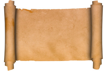 Scroll of old parchment.Isolated on a white background.