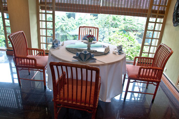 The Dining table in restaurant