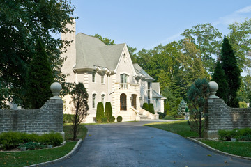 French Eclectic Revival Chateau Style Home, Suburban USA