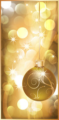 Golden banner with christmas ball. vector illustration