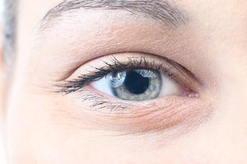 closeup of a smiling female eye