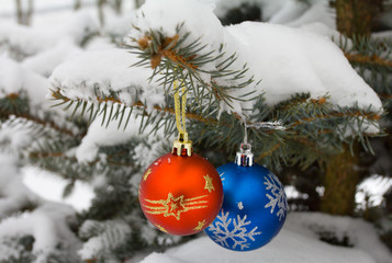 christmas decorations on fir branch