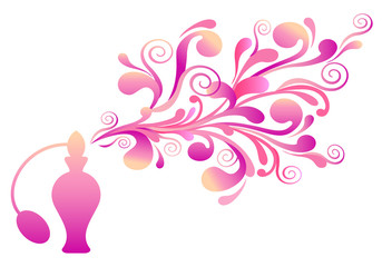 perfume bottle with floral scent, vector
