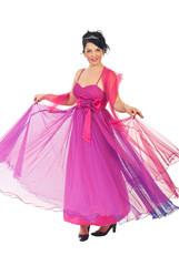 Garden Poster Woman twirl her pink dress