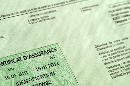 Certificat d'assurance voiture