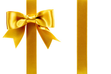 single gift bow, golden satin, with two ribbons on white
