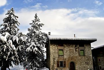 mountain house snow