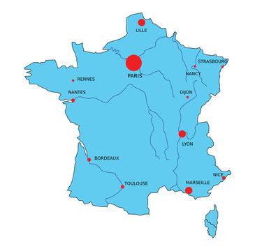 Carte de France bleue vectorielle et principales villes