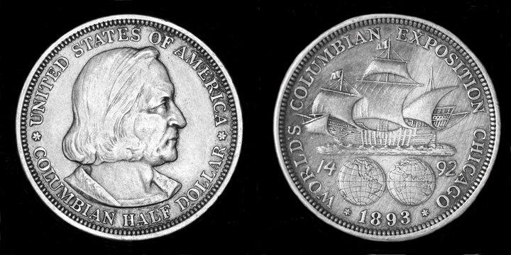 Серебрянная монета в пол доллара с изображением КУолумба