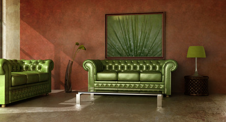 Rustic country interior with green leather sofa.