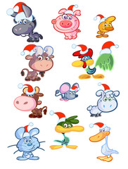 collection of christmas baby farm animals