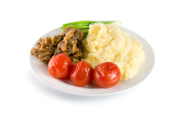 Cooked potatoes with liver (Path)