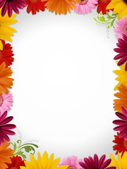 Flower border w... Round White